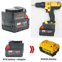 Pour Milwaukee M18 18V to Dewalt 18V / 20V Max Li-ion Battery Converter Adapter