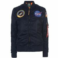 Womens Alpha Industries NASA MA1 Bomber Jacket Midweight Zip New