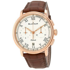 Blancpain Chronograph Flyback Pulsometre White Dial Brown Leather Mens Watch