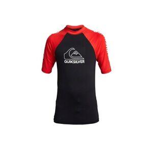 Quiksilver Big Boys Youth L/14 Short Sleeve UV Rash Guard On Tour Red Black