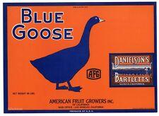 Blue Goose Vintage Danielson's Suisun Pear Crate, *An Original Label*