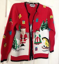 Berek Christmas Sweater Cardigan North Pole Santa Mrs Claus Size medium M