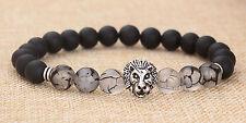Luxury Men's Matte Agate Silver Lion Head Elastic Beaded Tibet Charm Bracelet