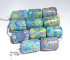 ALIEN DAZE Lampwork Beads Handmade Purple Turquoise Lime Green Blue Cylinder