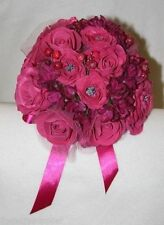 Wedding Foam Rose Bridal Bouquet - Cerise