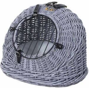 Cat Wicker Carrier Basket Grey Vintage Style Spacious Cushion Natural Light