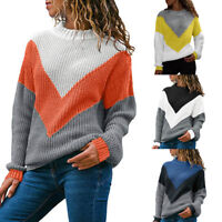 Women Ladies O-Neck Color Block Long Sleeve Knitted Sweater Tops Pullover Jumper