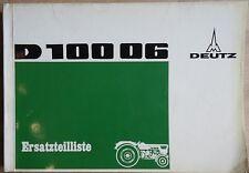 Deutz Schlepper D 100 06 Ersatzteilliste