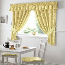"YELLOW GINGHAM EMBROIDERED PELMET TO MATCH KITCHEN CURTAINS  L136"" X W10"""