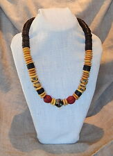 & Yellow beads (Italy,Africa,Asia} Brass Artisan, Bead necklace w Coconut Heishi