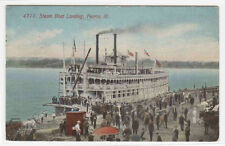 Paddle Steamer Steam Boat Landing Peoria Illinois 1914 postcard