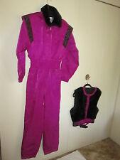 Fera Skiwear Purple Ski Suit w/Black Faux Fur Vest 10 New!