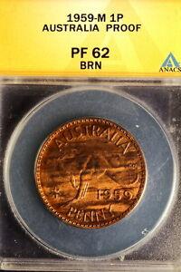 """1959-M ANACS Pf62 Australia KM-56 """"Rare"""" LargeCent E0943"""
