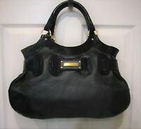 NEW Barbara Bui Black Pebbled Leather Patent Trim Shoulder Bag Satchel Purse