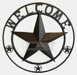 """24"""" Metal Welcome Wall Plaque Sign Barn Star Rope Ring Brown Western Rustic"""