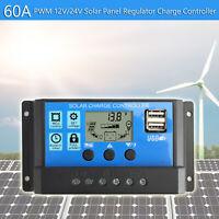 60A Controlador de Carga Solar Panel Batería Regulador PWM LCD Dual USB 12V-24V