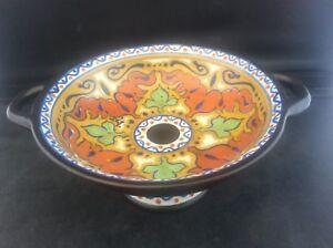c1920 Art Deco HandPainted GOUDA Pedestal Bowl 2 Handled Tazza Beek Pattern