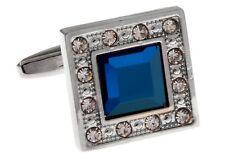 Square Blue Cufflinks Clear Crystals Wedding Fancy Gift Box Free Ship USA