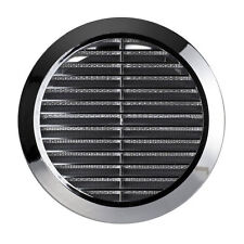 "Air Vent Grille Chrome Circle 100mm 4"" Silver Round Wall Ventilation Cover T30M"