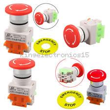 Red Mushroom Cap 1NO 1NC DPST AC 660V&10A Emergency Stop Push Button Switch
