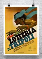 Lotteria Di Tripoli 1936 Art Deco Car Racing Poster Canvas Giclee 24x32 in.