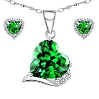 Sterling Silver Heart Cut AAA Created Emerald Pendant Necklace & Earring Set