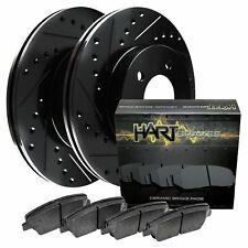 Fit Chevrolet Cruze, Sonic Rear Black Drill Slot Brake Rotors+Ceramic Brake Pads