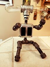 Steel Pipe Industrial Robot 2 Vintage Style Light Bulb Lamp with power outlet!