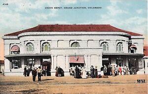 Colorado postcard Grand Junction Union Depot train station railroad RR