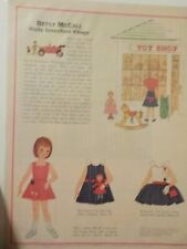 VINTAGE PAPERDOLL FROM MAGAZINE PAGE 1963 BETSY MCCALL VISITS GREENFIELD VILLAGE