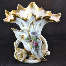 """Antique Old Paris """"Porcelaine De Paris Vieux"""" Fan Flair Vase Chips See Condition"""