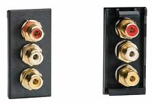 Varilight Z2GPH3B DataGrid Black Triple Phono (RCA) Socket Female (1 Space)