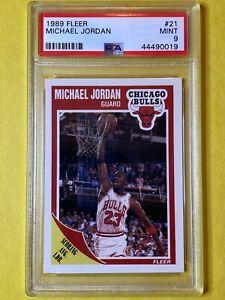 (2) Michael Jordan 1989 Fleer #21 Cards Chicago Bulls - PSA MINT 9