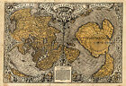 1531 Flat Earth World Map Oronce Fine Wall Poster Print Decor Vintage History