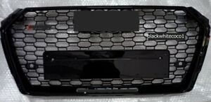 Fits 2017-2018 Audi A4/S4 B9 RS4 Style Honeycomb Black Mesh Hex Grille W/Quattro