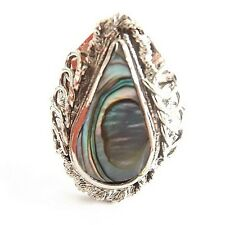 ABALONE SHELL ALPACA SILVER RING ADJUSTABLE TEARDROP PEAR SHELL FILIGREE STYLE