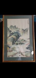 """Antique Chinese Watercolor Landscape Painting Signed By Artist 25""""x16"""""""