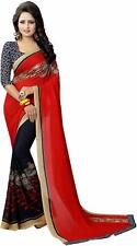 Indian Printed Bollywood Saree Party Faux Georgette Ethnic Women Sari Blouse