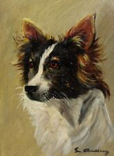 VintageFrench Oil Painting, French Papillon Continental Spaniel Dog Portrait