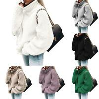 Women Winter Turtleneck Baggy Knitted Oversized Sweater Jumper Pullover Top Surp
