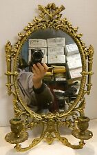 """Vintage Ornate Brass Oval Mirrored Double Wall Sconce 16.5"""" x  10.5"""" Excellent"""