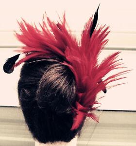 dark red black feather fascinator comb hair clip headpiece wedding party piece