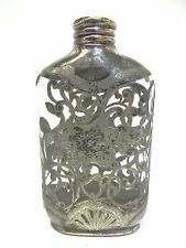 Vintage Glass Silverplate Monogrammed Decorative Ornate Alcohol Whiskey Flask