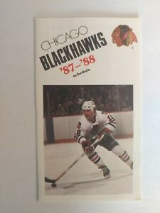 1987-1988 Chicago Blackhawks NHL Pocket Schedule Denis Savard Doug Wilson Larmer