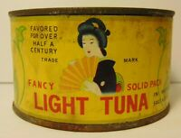 Old Vintage 1940s GEISHA TUNA FISH Graphic Advertising Tin Can Ozaki Toyko Japan