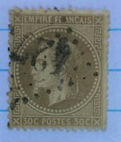 TIMBRES FRANCE : Yvert et Tellier N°30 30c Brun oblit. losang Gros chiffres