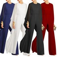 Women's Long Sleeves Jumpsuit Elegant Wide Leg Bat Sleeve Romper Flowy Outfit 20