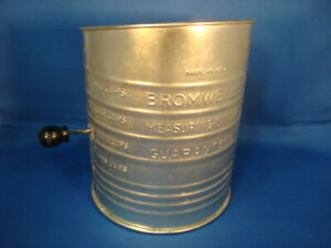 Antique Bromwell's 5 Cup Measuring Flour Sifter Guaranteed Made in USA Wood Hand