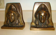 ANTIQUE J B CO NEW CASTLE PA, BOOKENDS BRONZE SCULPTURE BUST FRENCH BEATRICE