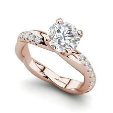 Cut Diamond Engagement Ring Rose Gold Twist Rope Style 1.15 Carat Vvs1/D Round